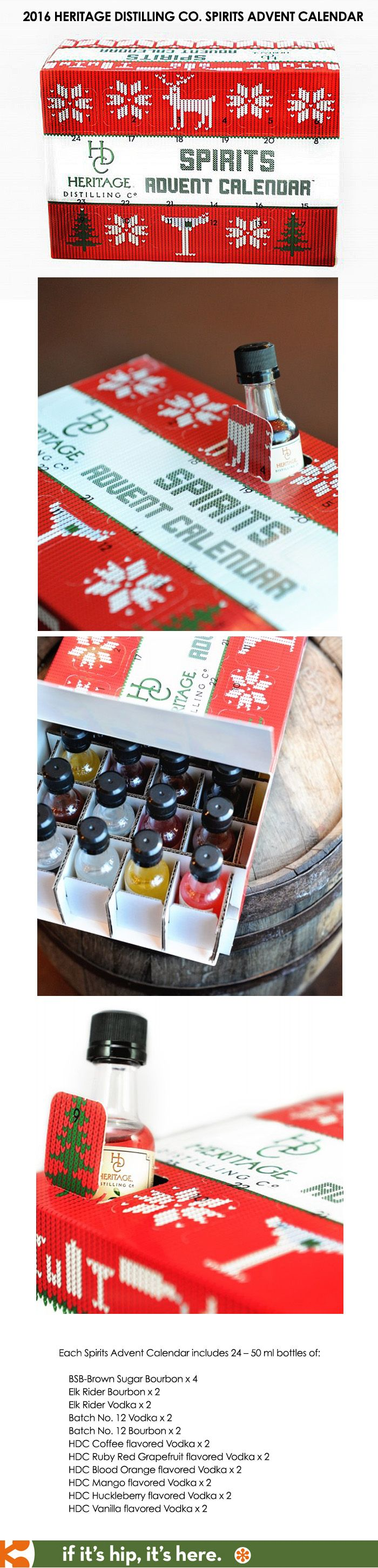 The 2016 Spirits Advent Calendar is a cardboard box filled with 24 mini bottles of booze from Heritage Distilling Co.