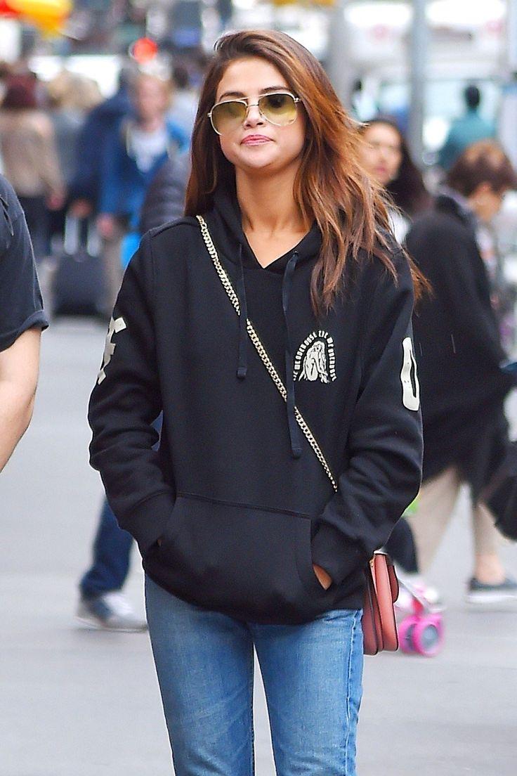 June 4th, 2017: Selena Gomez wearing The Weeknd's merchandise hoodie in New York