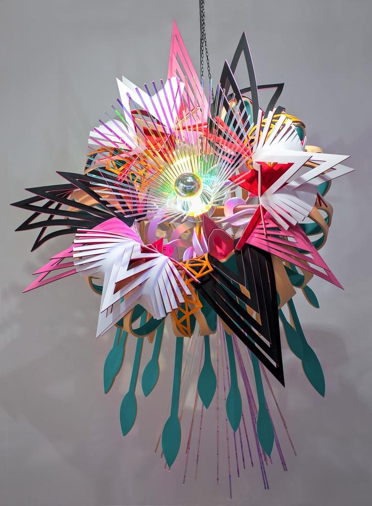 Tsai & Yoshikawa, Pop Bloom - Prism I, Neoprene, perspex and light bulb, 230 x 160 x 160 cm
