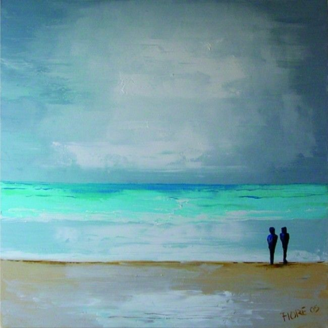 Een prachtig modern figuratief schilderij van de maan achter wolken, die verdwijnt in het groenblauwe water boven een bruin geel glinsterend strand. - A beautiful modern figurative painting of the moon behind clouds, which disappears into the turquoise water above a brown yellow glistening beach.