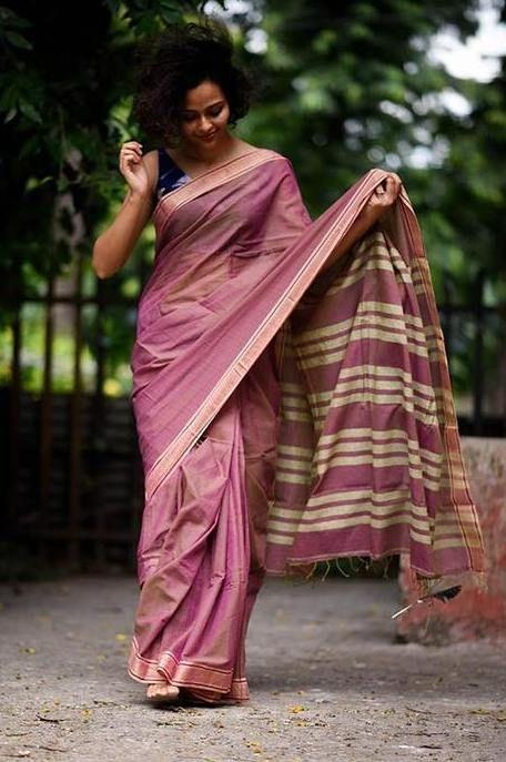 Handloom Pink and Beige Cotton Saree