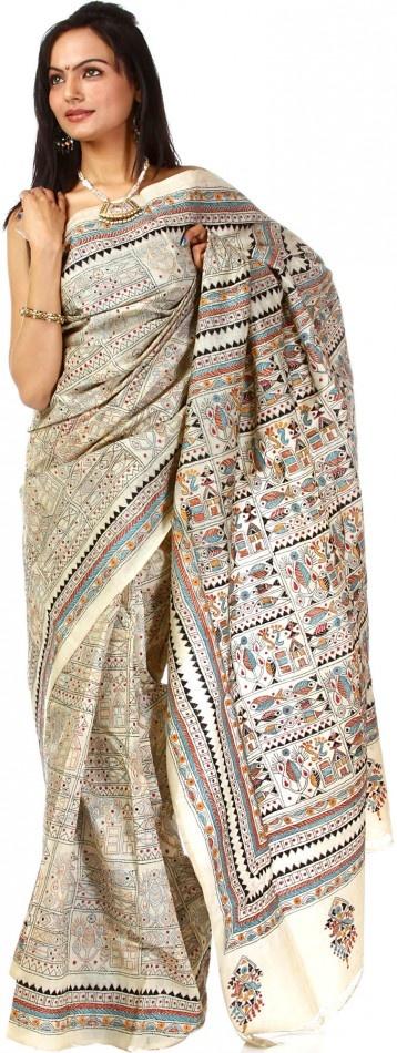 beige kantha sari