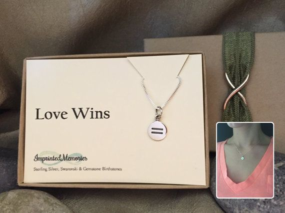 Love Wins - VERY TINY Equality Necklace - LGBT Equal Rights - Girlfriend Gift - Sivler Equals Sign - Gay Marriage - Civil Union - Gay Rights