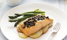 Pine nut, orange and currant crusted salmon fillets