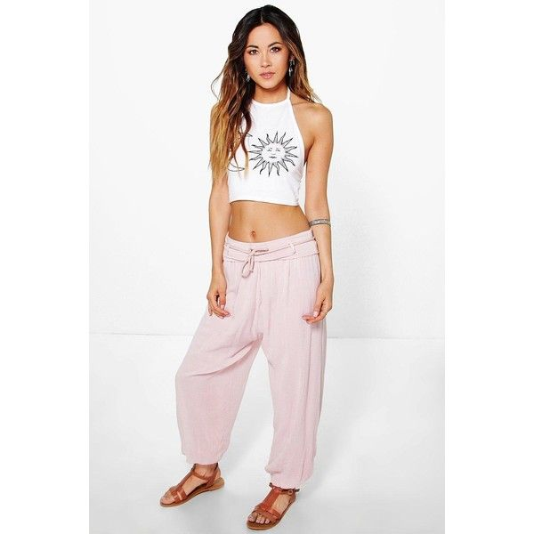 Boohoo Ria Linen Look Festival Hareem Trousers ($35) ❤ liked on Polyvore featuring pants, blush, flat-front pants, sports pants, white palazzo pants, white pants and white wide leg pants