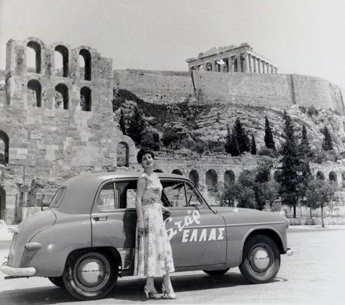 "1953 ~ ""Star Hellas"" beauty pageant winner posing under the Acropolis"