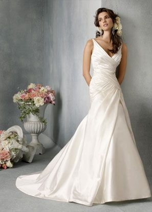 love love love this dress!  simple and yet so elegant - White Silk Satin draped body skimming silhouette with asymmetrical A-line skirt, V-neckline with crystal accents at shoulders, low open back, chapel train - Jim Hjelm Bridal Gowns, Wedding Dresses: Style jh8807