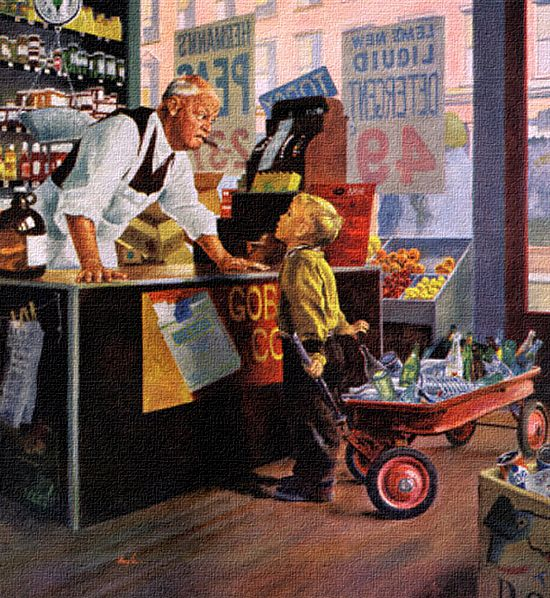 Bottle Return, art by George Hughes.  Detail from Saturday Evening Post cover March 28, 1959.