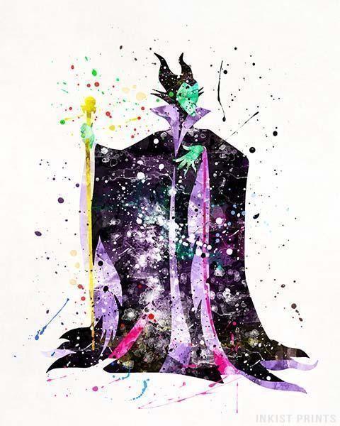 Maleficent Disney Watercolor Print. Prices from $9.95. Available at InkistPrints.com - #disney #watercolor #babyart #decor #nurseryart #Maleficent