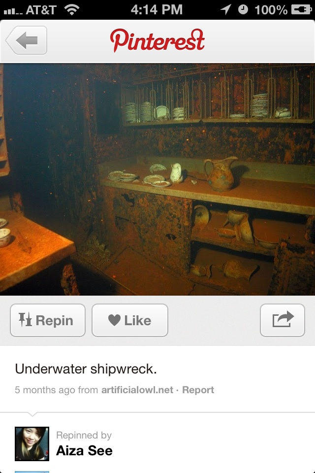 Ship wreck - kitchen wares still in place. . . amazing how the items are where they are. .