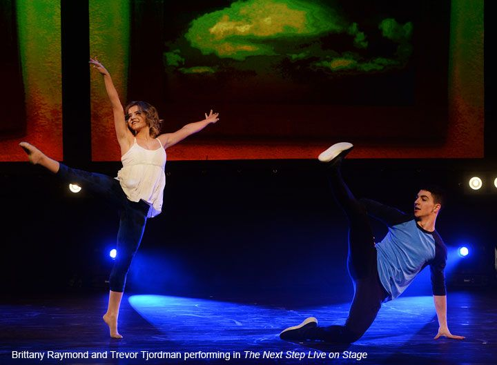 Brittany Raymond and Trevor Tordjman performing in The Next Step Live on Stage