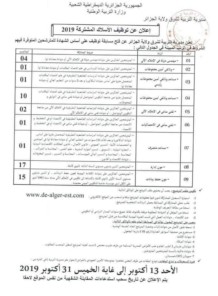 اعلان عن توظيف مديرية التربية لشرق ولاية الجزائر326 منصب Sheet Music Person Alger