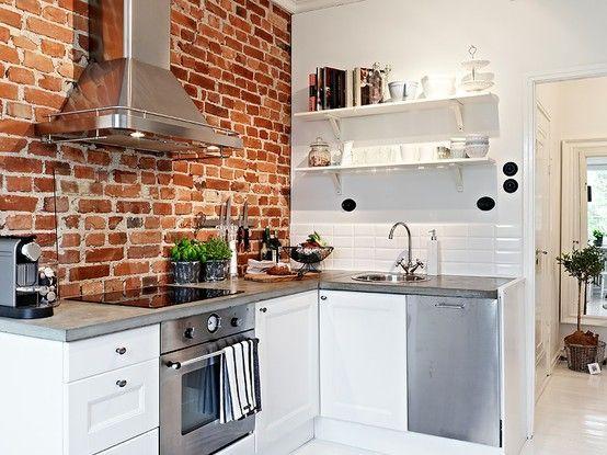 White Kitchen Exposed Brick best 25+ exposed brick kitchen ideas on pinterest | brick wall
