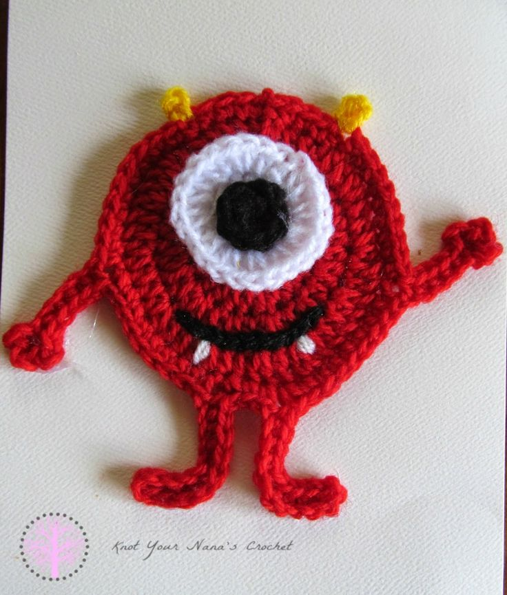 Knot Your Nana's Crochet: Miles the Monster Applique - free #crochet pattern! This little monster is super cute, not scary - a great applique for any kid stuff you can imagine! Anything from a onsie to a blanket!