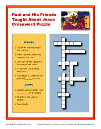 Give Your Kids An Opportunity To Work This Fun Crossword Puzzle Based On The Bible Story About Pauls Friendship And Partnership With Aquila Priscilla