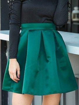 Shop Green Satin Look High Waist Mini Skirt from choies.com .Free shipping Worldwide.$13.49