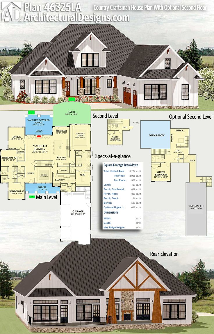 Plan 46325LA Country Craftsman House Plan With