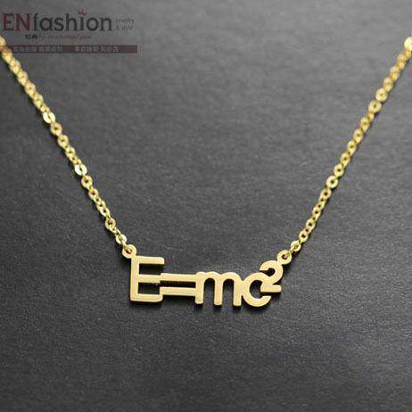 Moda E = MC2 genius colar colar de mulheres colar pingente 18 K subiu colares de ouro de aço inoxidável colar de jóias por atacado
