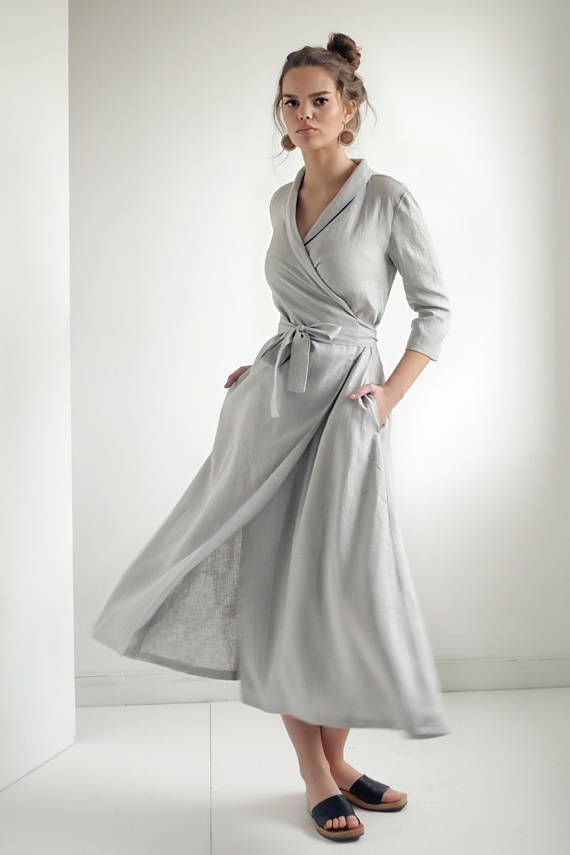 a9ad9d3663 Linen Shawl Collar Wrap Dress in 2019