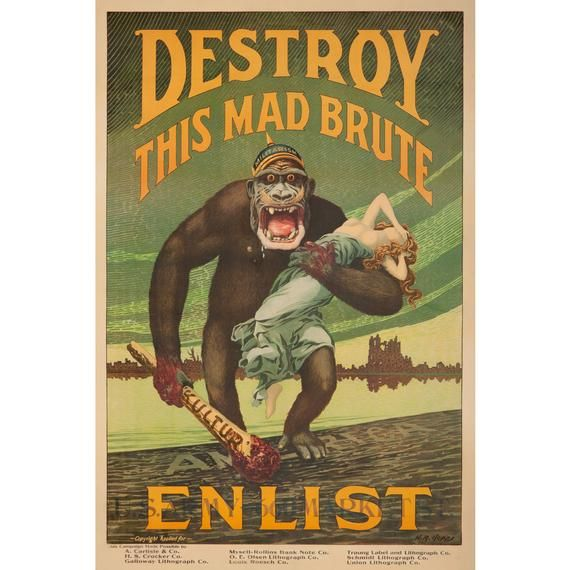 Destroy This Mad Brute Vintage Poster Artist Hopps Usa C 1917