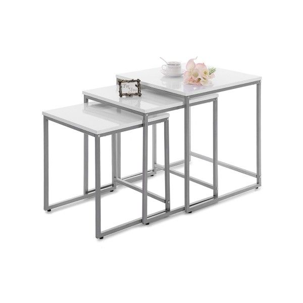 white iKayaa 3PCS Metal Frame Nesting Side End Tables Set -... ($100) ❤ liked on Polyvore featuring home, furniture, tables, accent tables, stacking end tables, white side table, nesting accent tables, white metal coffee table and white end table