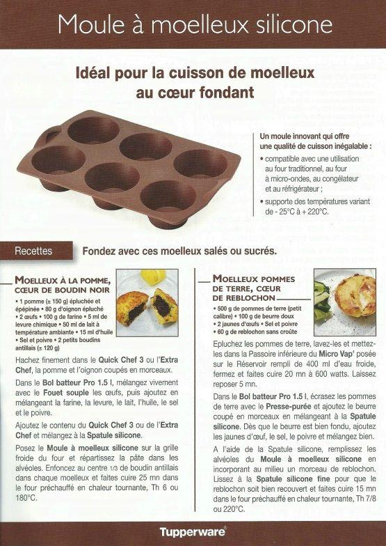 Fiche recette Moule à moelleux 1/2 - Tupperware : Moelleux à la pomme coeur de boudin noir, moelleux pomme de terre coeur de reblochon