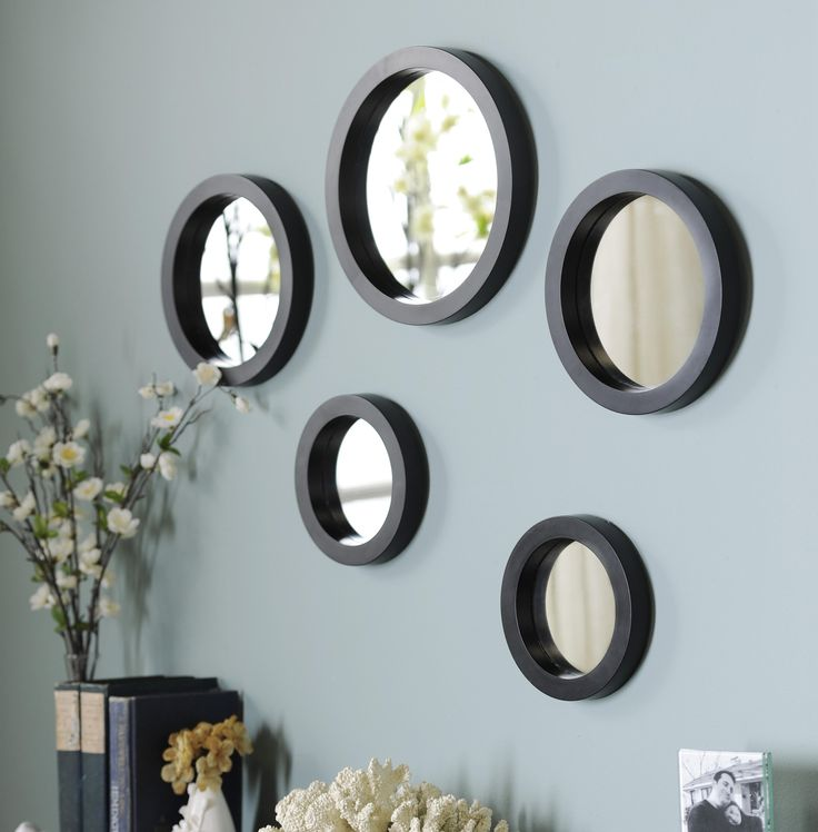 circle mirror set of 5 mirror crafts living room on mirror wall id=88551