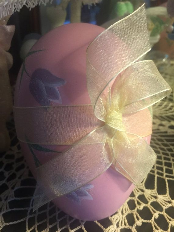 Vintage Pink Hand Painted Easter Egg Purple Tulips by MOJEART