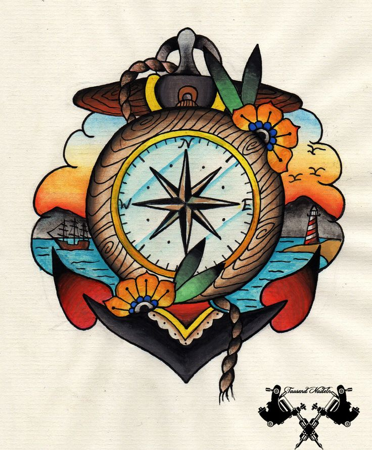 Old School Tattoos Design with Flash Compass and Anchor