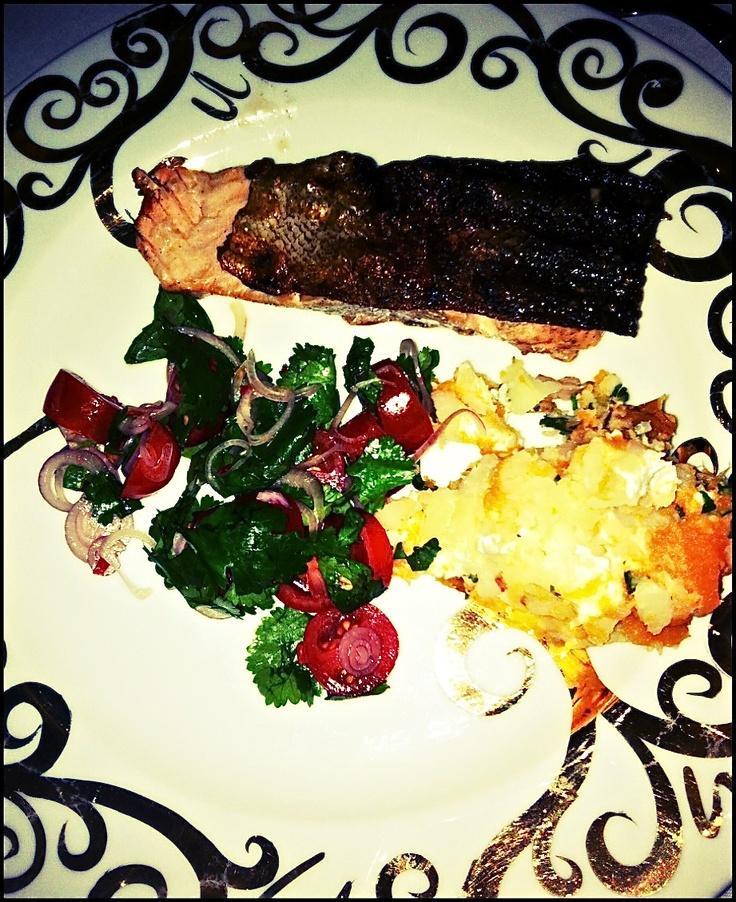 mash, fish & coriander salad