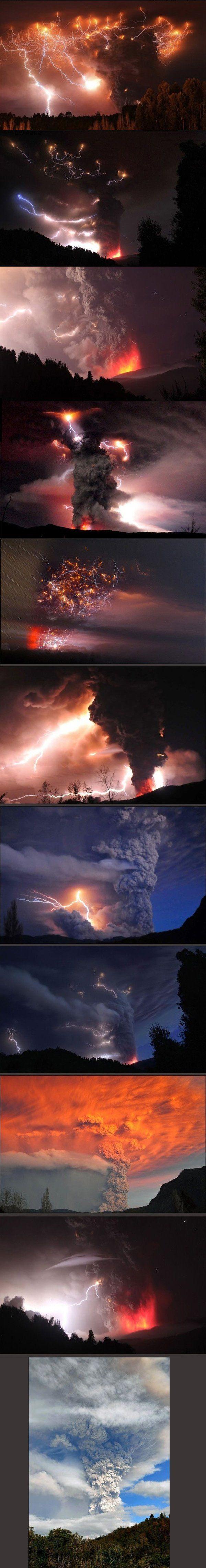 Respekteinflößende vulkanische Blitze und Gewitter