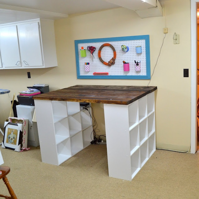 craft room or workshop table organized repurpose up cycled cheap