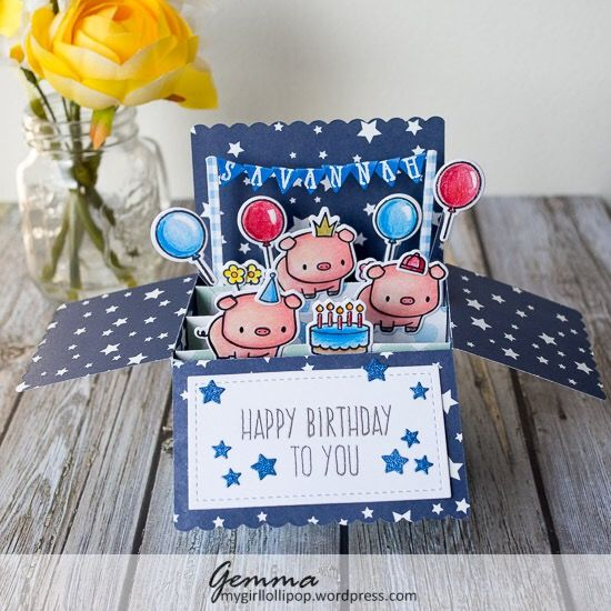 The Lawn Fawn box card die is so awesome! I'm having so much fun with it and knew I wanted to make my niece a birthday box card. She like pigs so I used the cute pig from the Mama Elephant Lu…