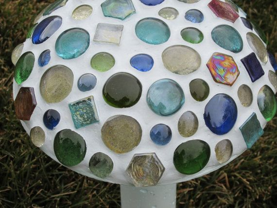 concrete mushroom marble mosaic garden decor yard by lindasyardart - Concrete Tile Garden Decor