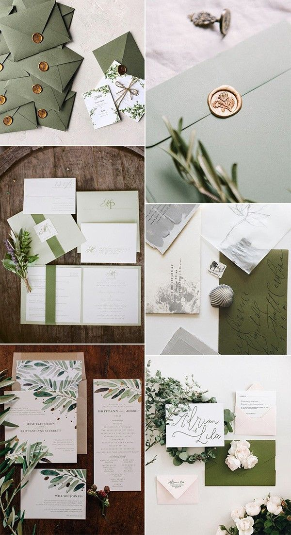30 Gorgeous Olive Green Wedding Color Ideas For 2021 Trends Emmalovesweddings Olive Green Weddings Green Wedding Colors Green Wedding Invitations