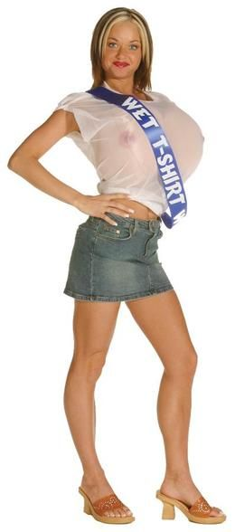 Wet T-Shirt #Costume Win every contest in this outrageous costume! Giant soft foam breasts with see-thru shirt and pageant sash. One size fits most adults.