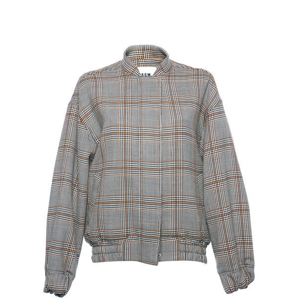 MSGM Plaid Double Face Wool Bomber ($630) ❤ liked on Polyvore featuring outerwear, jackets, plaid, reversible bomber jacket, plaid jacket, msgm jacket, msgm and bomber jackets