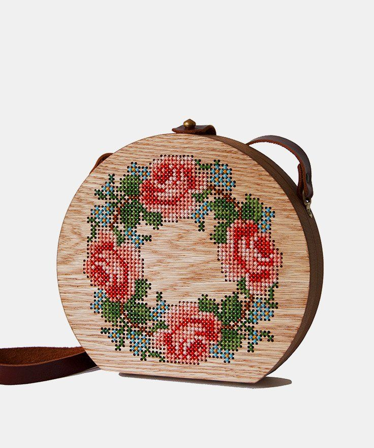 Rose Cross Stitched Oak Wood Bag by Grav Grav $560