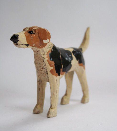 Antique wooden toy Fox Hound from The Forest Toys, Brockenhurst
