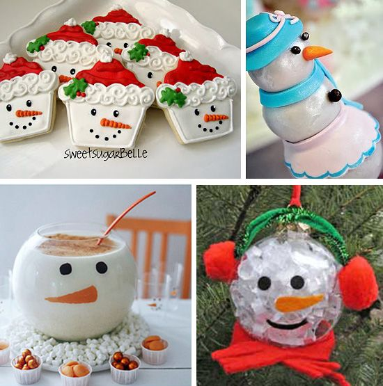 Lots of snowman desserts, decorations and craft ideas~