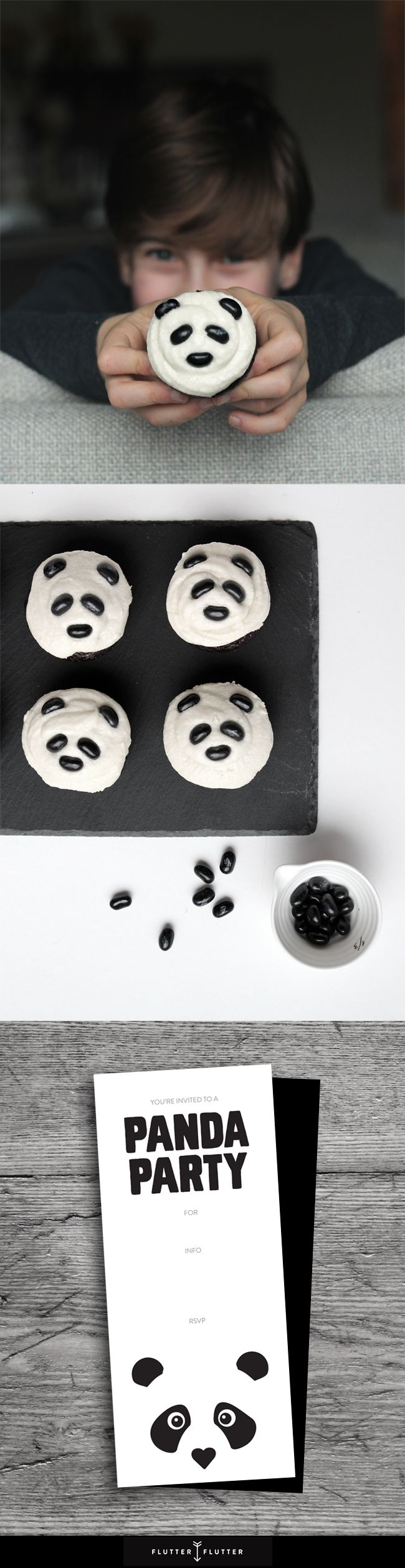 Panda Themed Kids Birthday Party, cupcakes, and invitation.