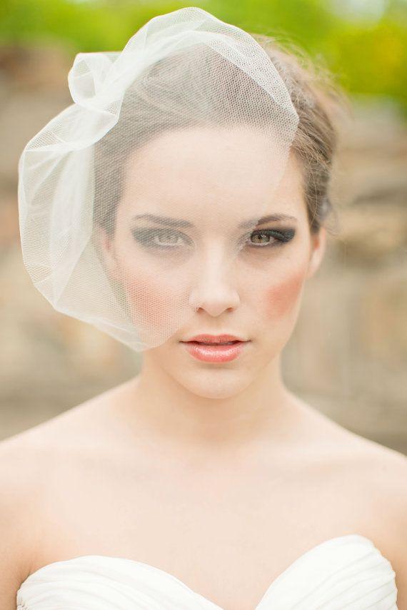 Silk Tulle Veil, Blusher Veil, Birdcage Veil, Silk Wedding Veil, Small Veil, Mini Veil MADE TO ORDER