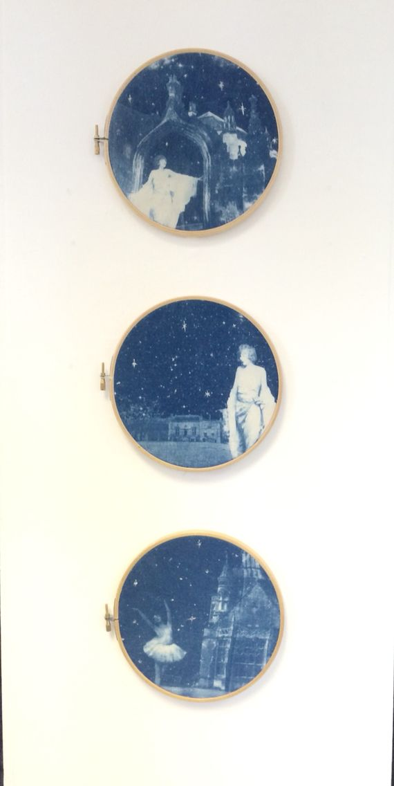 Cyanotypes printed on fabric and displayed in embroidery hoops.  Josie Mae 2015