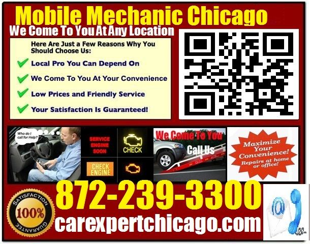 Mobile Mechanic Chicago IL Call 872-239-3300 or http://www.carexpertchicago.com/ auto car repair service shop review that comes to you at home.