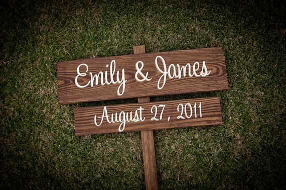 CUSTOM Wooden Wedding Signs - your NAMES and wedding DATE - spring summer winter fall autumn chic outdoor wooden signage. $62.00, via Etsy.