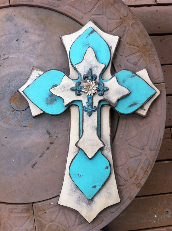 Large Shabby Chic Turquoise Wood Cross by SignsBYDebbieHess, $40.00