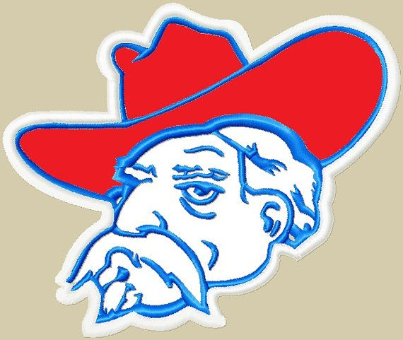 Ole Miss Rebels Head Applique Embroidery Design 3 Sizes