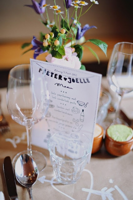 Table decoration menu by Studio Sjoesjoe