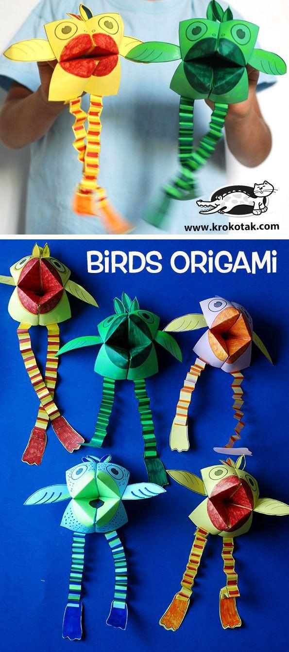krokotak, Birds origami, craft, paper, children, elementary school, #knutselen, kinderen, basisschool, papier, vouwen, vogel van origami en trapjes