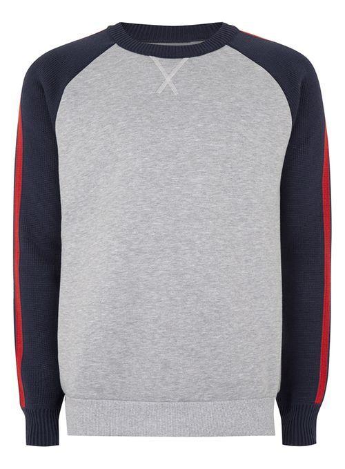 Grey and Navy Crew Neck Sweatshirt
